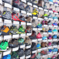 Image of sport colorful shoes on showcase